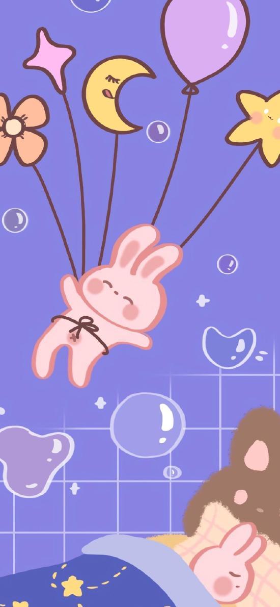 紫色 卡通 兔子 星星 月牙