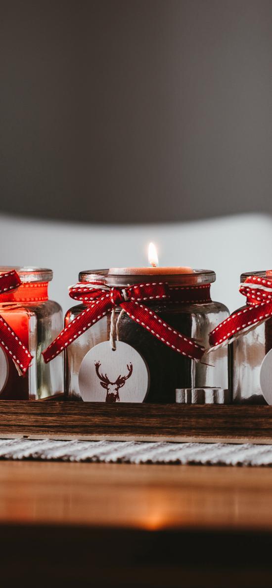 蜡烛 燃烧 香薰 玻璃罐子