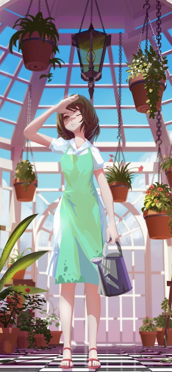 场景 二次元 动漫少女 浇花