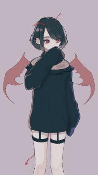 女孩 插画 小恶魔 翅膀