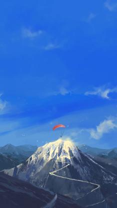插画 雪山 降落伞 滑伞 天空 唯美