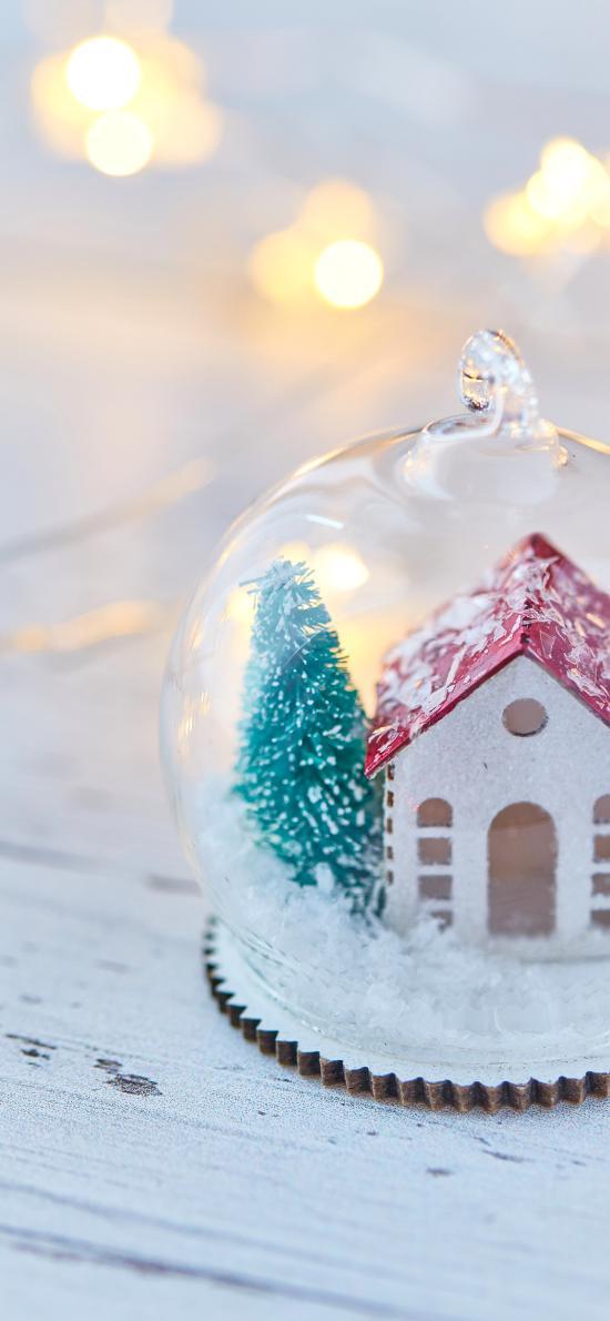 雪屋 模型 圣诞 玻璃球