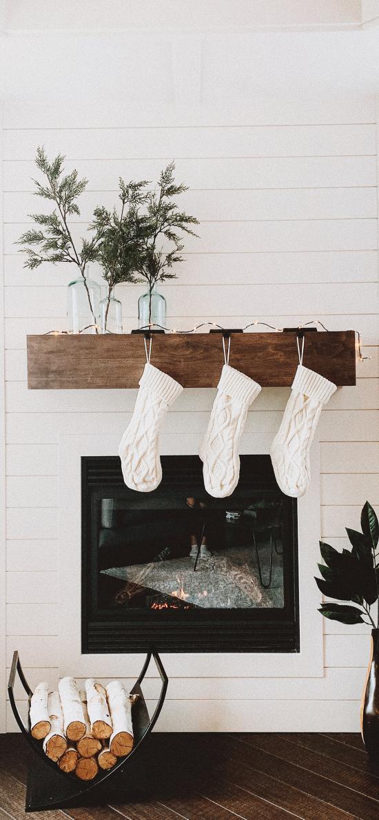 家居 壁炉 袜子 盆栽 木柴