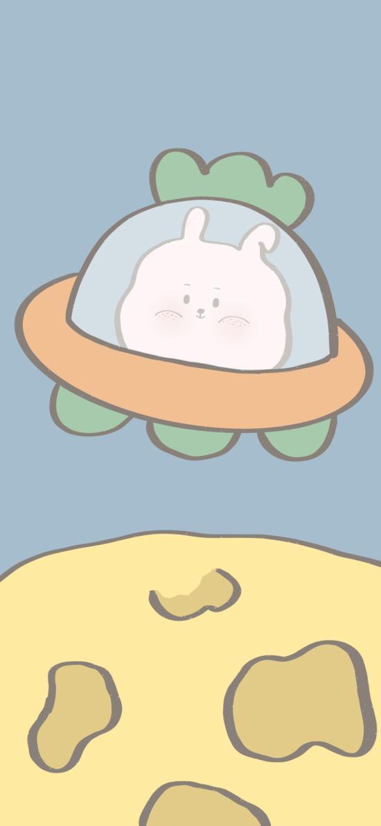 卡通 兔兔 飞行器 星球(取自微博:寄喜饼给你喔)
