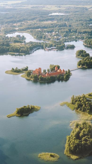 建筑 湖面 航拍 景色