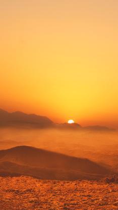 夕阳 太阳 群山 云海