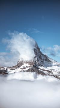 雪峰 雪顶 蓝天 云海