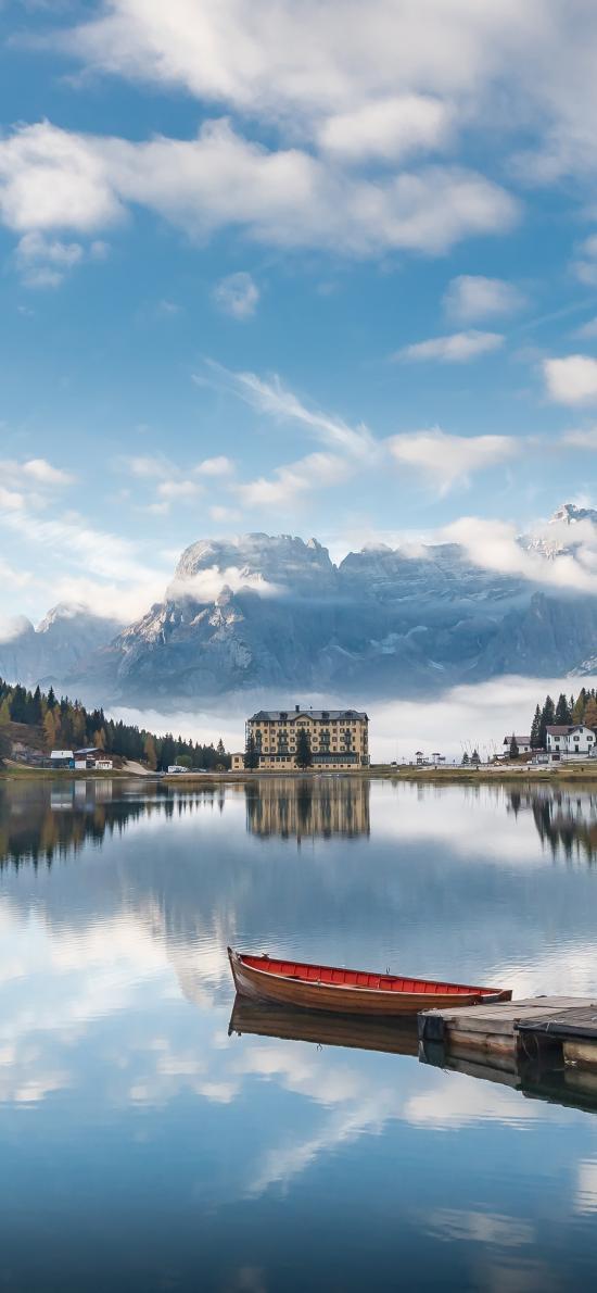 景色 湖面 天空 船只