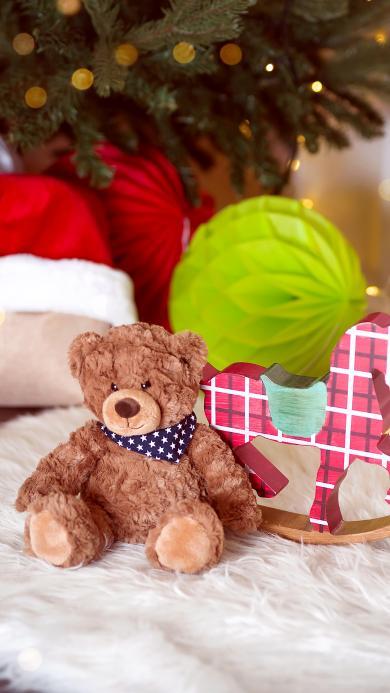 玩具 小熊 木马 毛毯