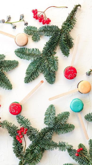 马卡龙 树枝 点心 圣诞 松果
