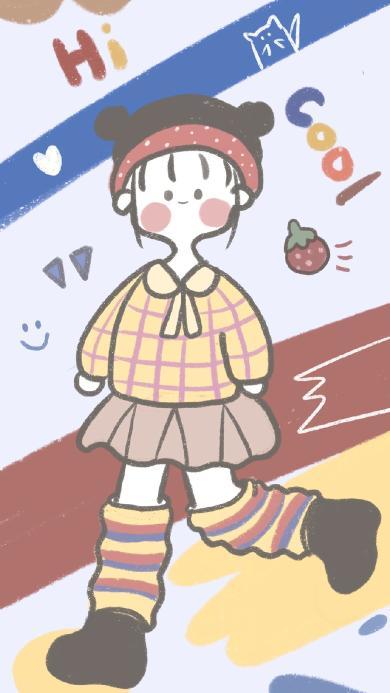 女孩 色彩 装扮 绘画