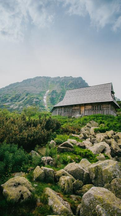 石块 房屋 野外 天空 山区