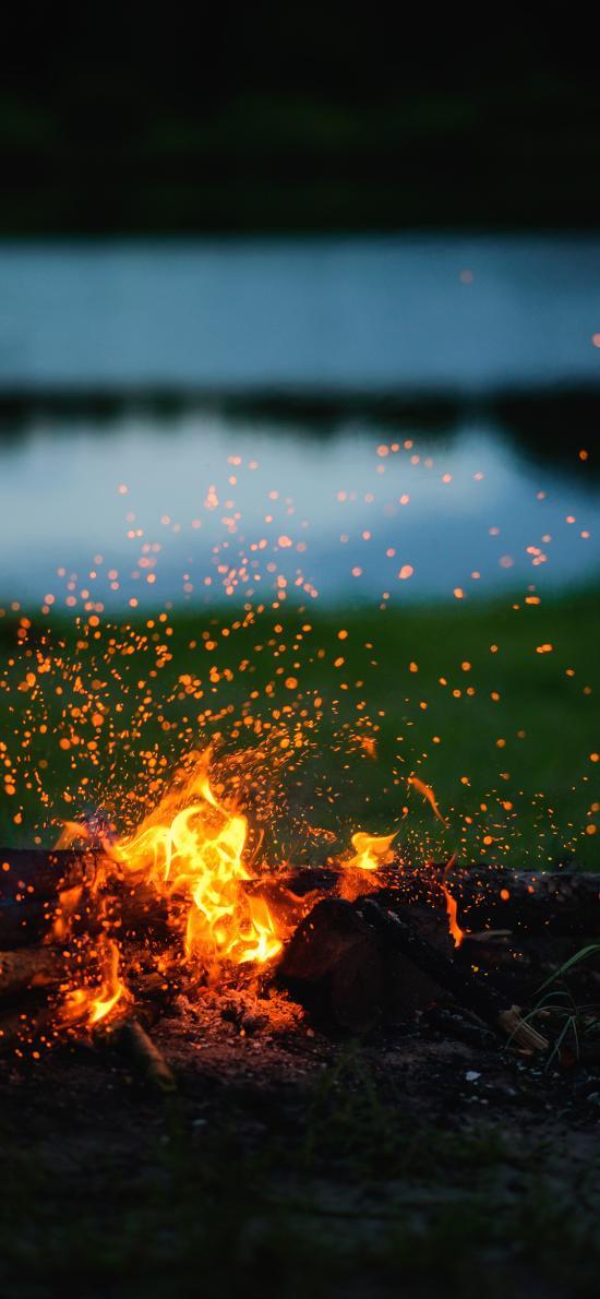 火焰 燃烧 火星 柴火