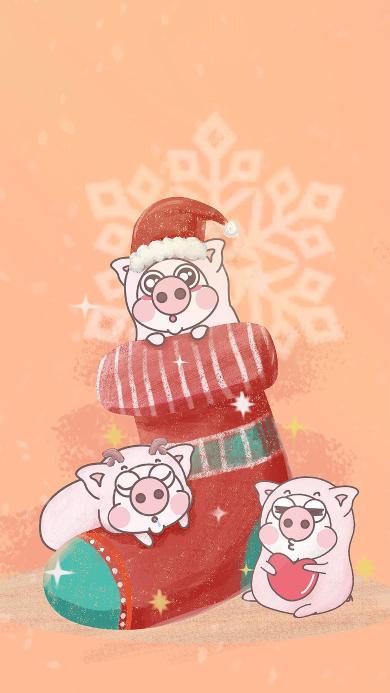 圣诞 袜子 小恭猪 趣味
