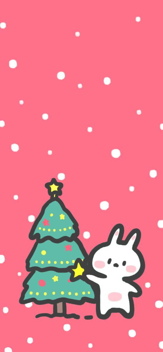 圣诞树 圣诞节 兔子 可爱(取自微博:安心队长)