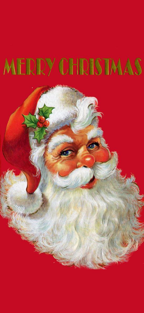 插画 圣诞老人 圣诞节 红色(取自微博:G195)