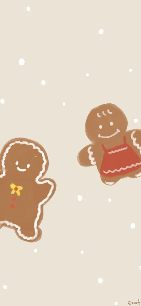 可爱 卡通 姜饼人 绘画