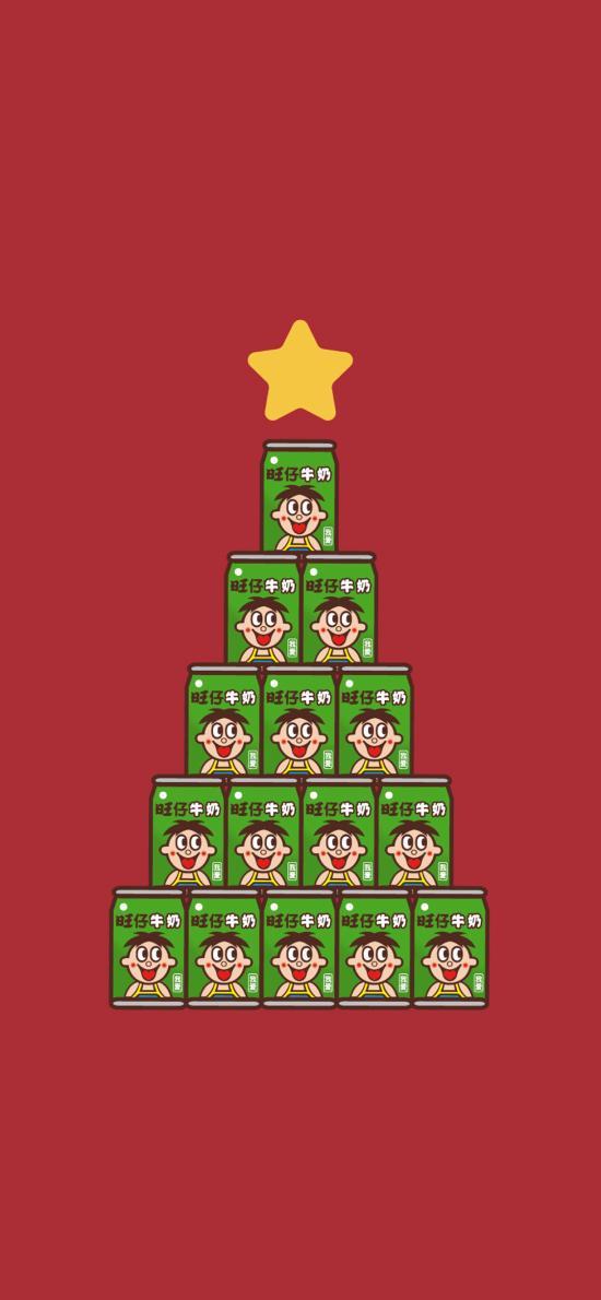 旺仔 圣诞节 圣诞树 红色背景 星星