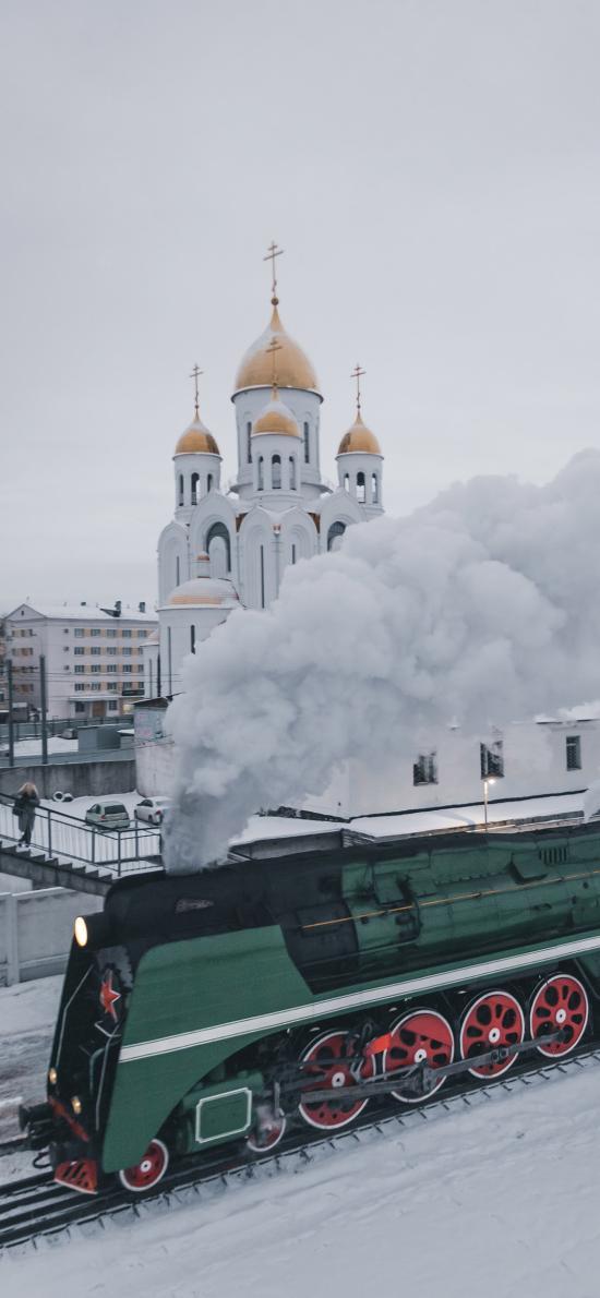雪地 建筑 堡垒 火车 烟雾