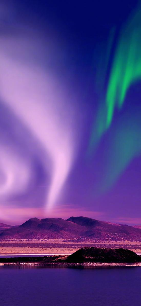 极光 唯美 大自然 山脉
