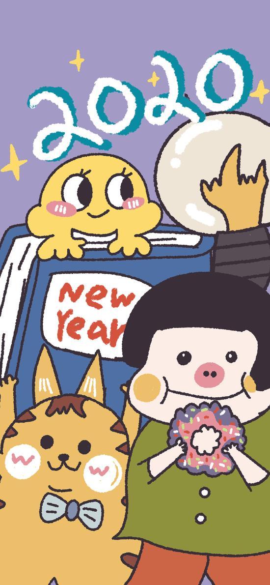 2020 猪妹 new year 卡通