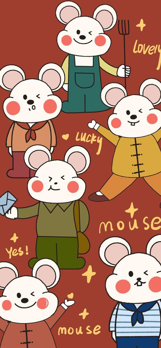 卡通 老鼠 鼠年 lucky 平铺 mouse