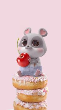 鼠元宝 老鼠 可爱 樱桃 甜甜圈 粉色