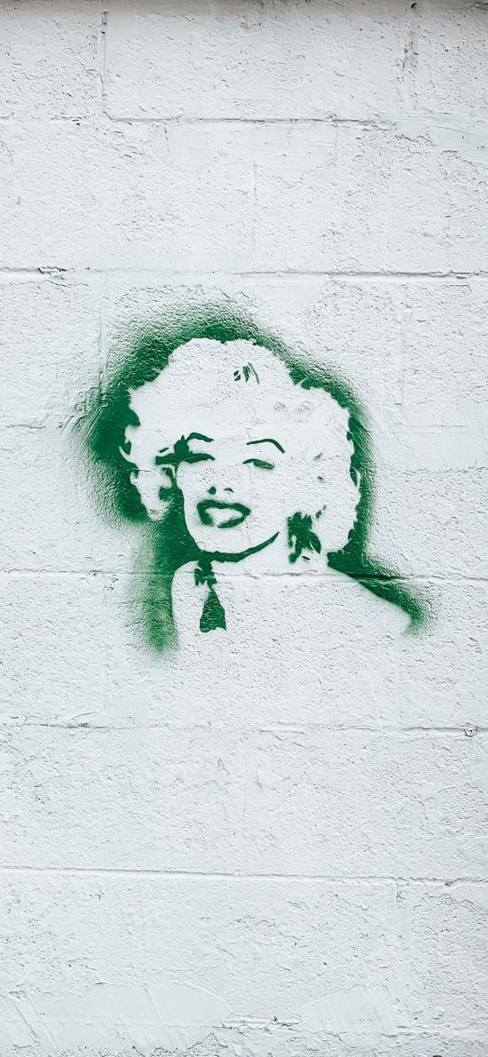墙绘 艺术 绿色 玛丽莲梦露