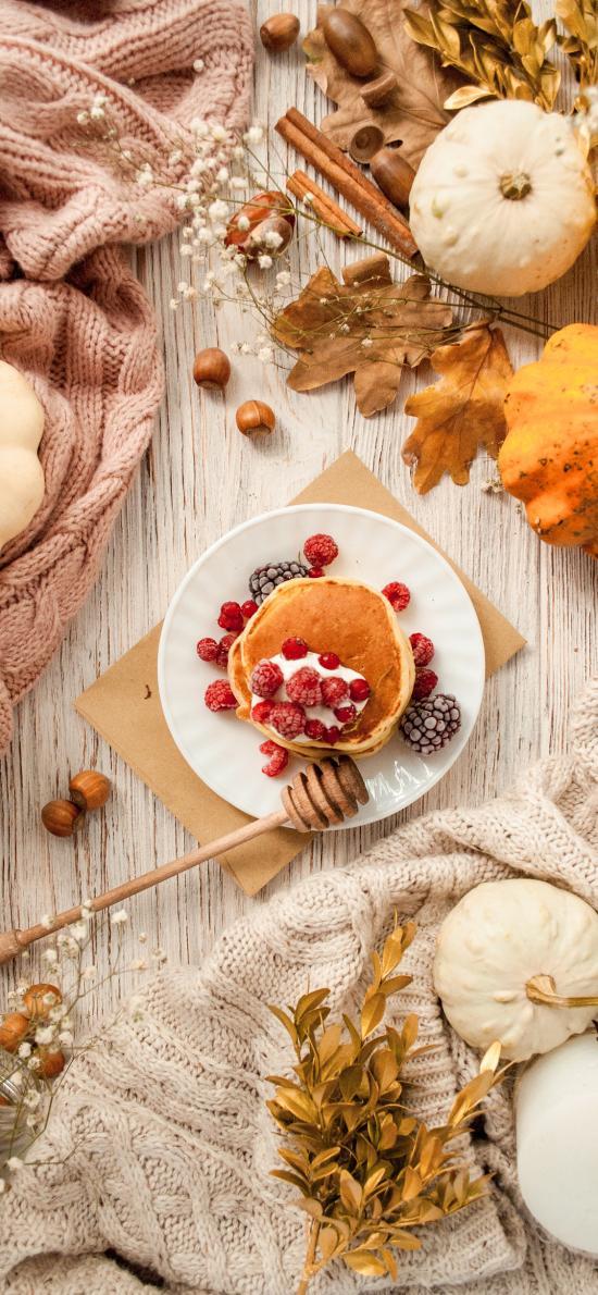 静物 松饼 树莓 南瓜 干花