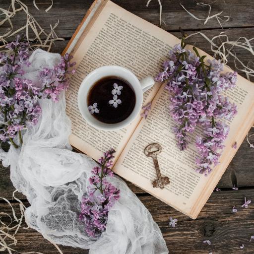 书籍 咖啡 丁香花 花瓣
