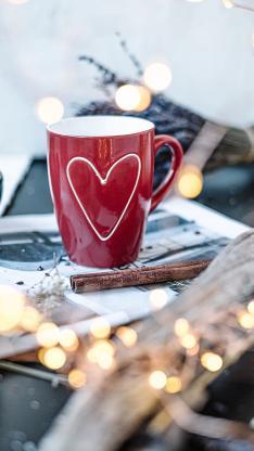 静物 瓷器 马克杯 红色 爱心