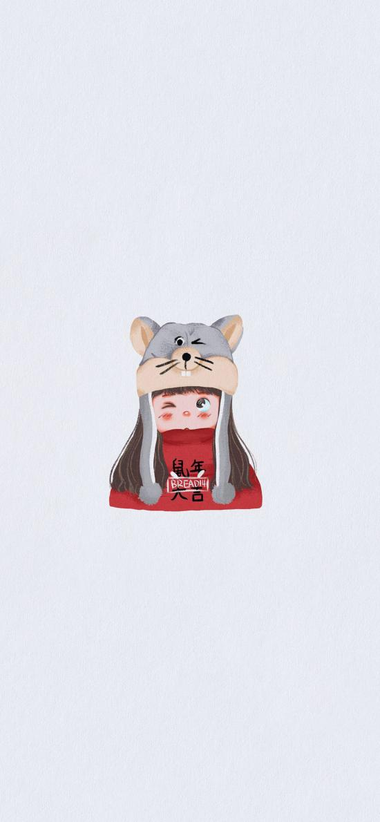 鼠年大吉 女孩 新年 插画