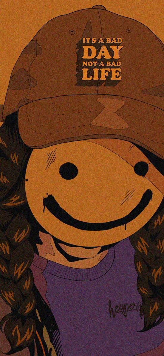 笑脸 人 插画 表情 面具 辫子