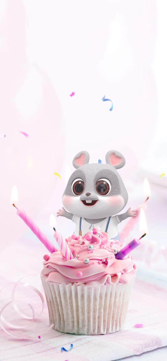 鼠元宝 老鼠 可爱 纸杯蛋糕 蜡烛