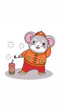 放鞭炮 鼠年 新年 老鼠