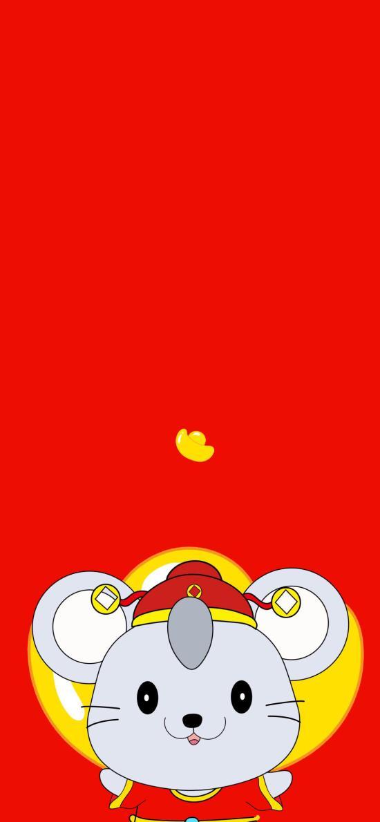 财神 老鼠 新年 红色 金元宝