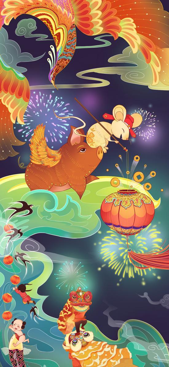 鼠年 插画 猪 凤凰 烟花