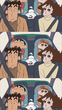 蜡笔小新 动画 小白 开车