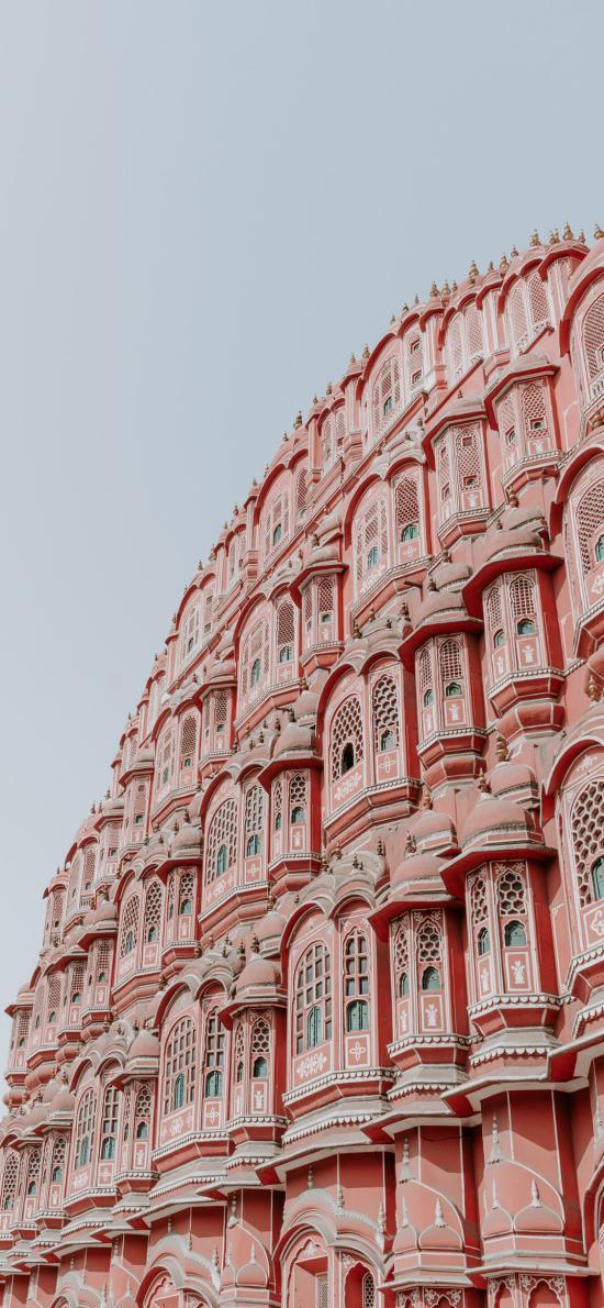 建筑 楼房 粉色 窗户