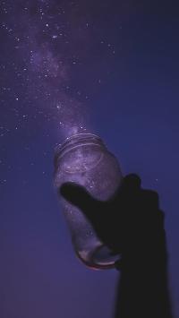 星空 夜空 玻璃瓶 黑暗 黑夜