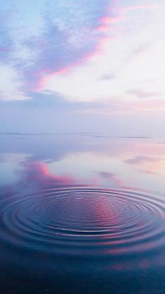 湖面 水波 蓝色 倒影 水面