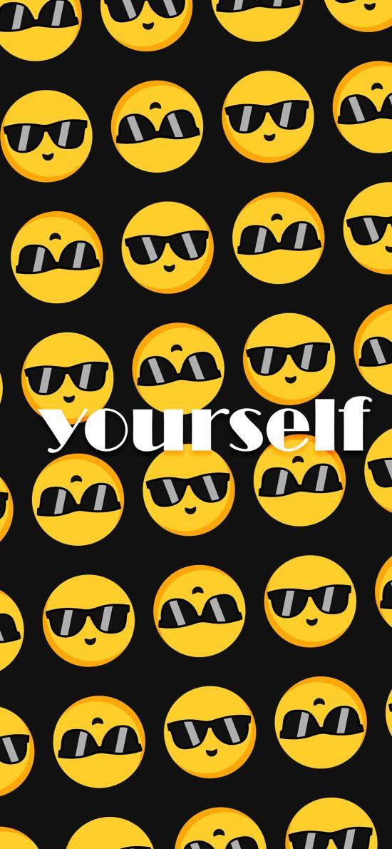 平铺 墨镜表情 be yourself