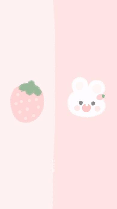 兔子 粉色 草莓 对话框