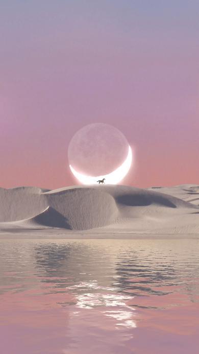 月亮 马 月牙 水面