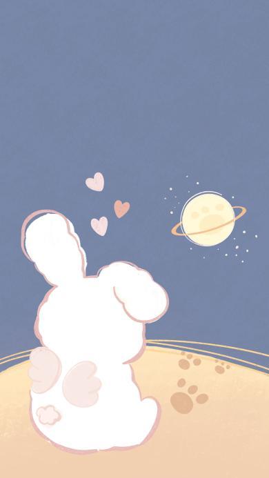 卡通 兔子 背影 可爱