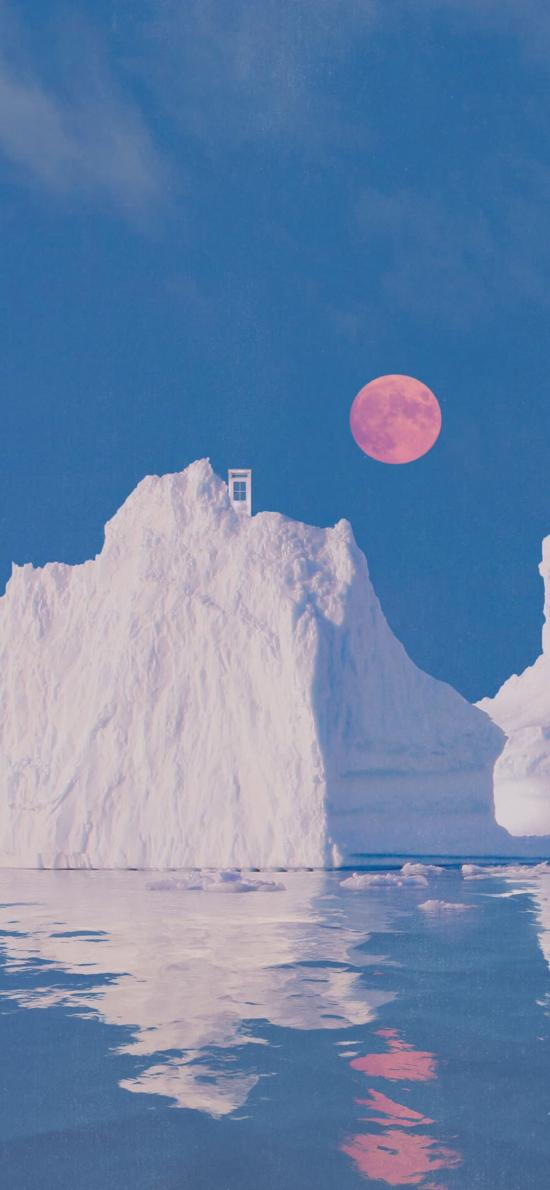 大海 冰川 冰峰 太阳