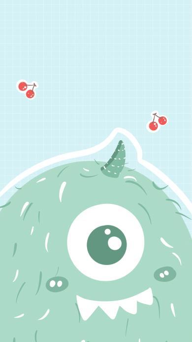 怪兽 蓝色 牙齿 萌 樱桃