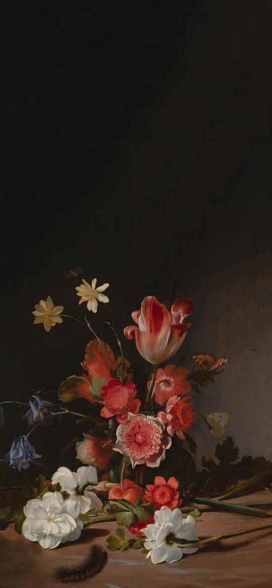 油画 绘画 花束 盛开