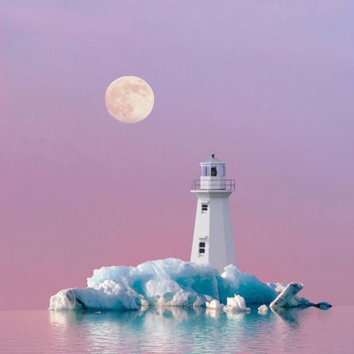 灯塔 月亮 冰川 水面