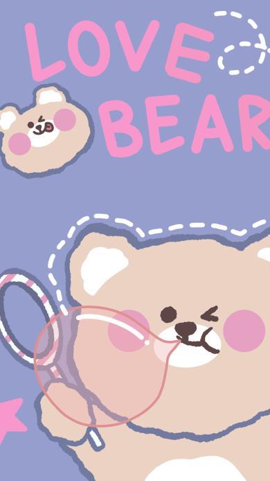 熊 love bear 吹泡泡 情侣 爱情